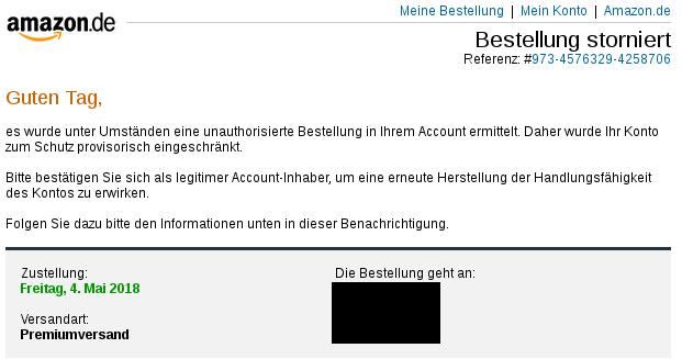 Gefälschte Amazon E-mail